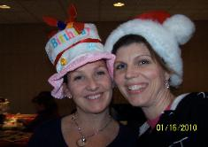 "Teresa and I playing the ""hat"" game"